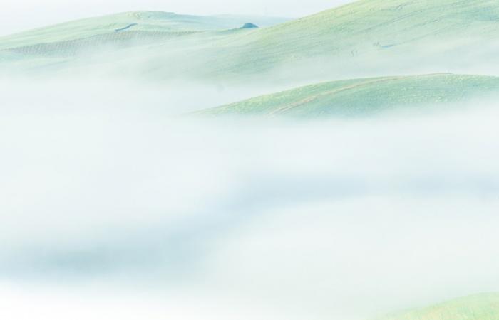 Brume matinale en mai en Toscane lors d'un stage photo paysage